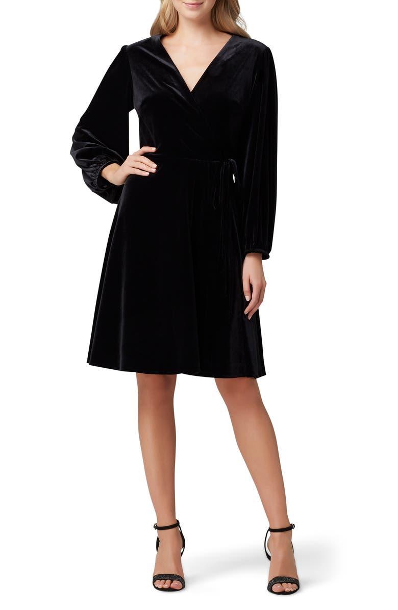 TAHARI Velvet Long Sleeve Faux Wrap Dress, Main, color, BLACK