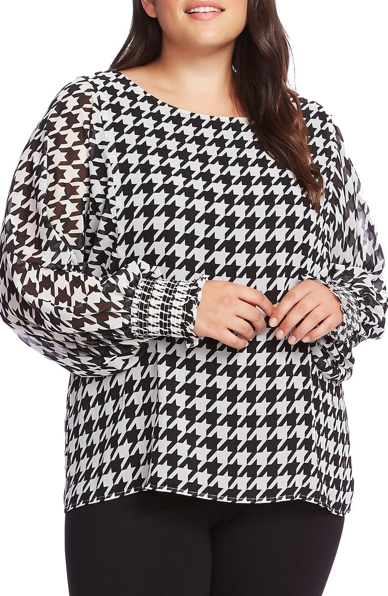 VINCE CAMUTO Houndstooth Chiffon Blouse, Main, color, RICH BLACK