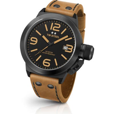 Tw Steel Canteen Leather Strap Watch, 45Mm
