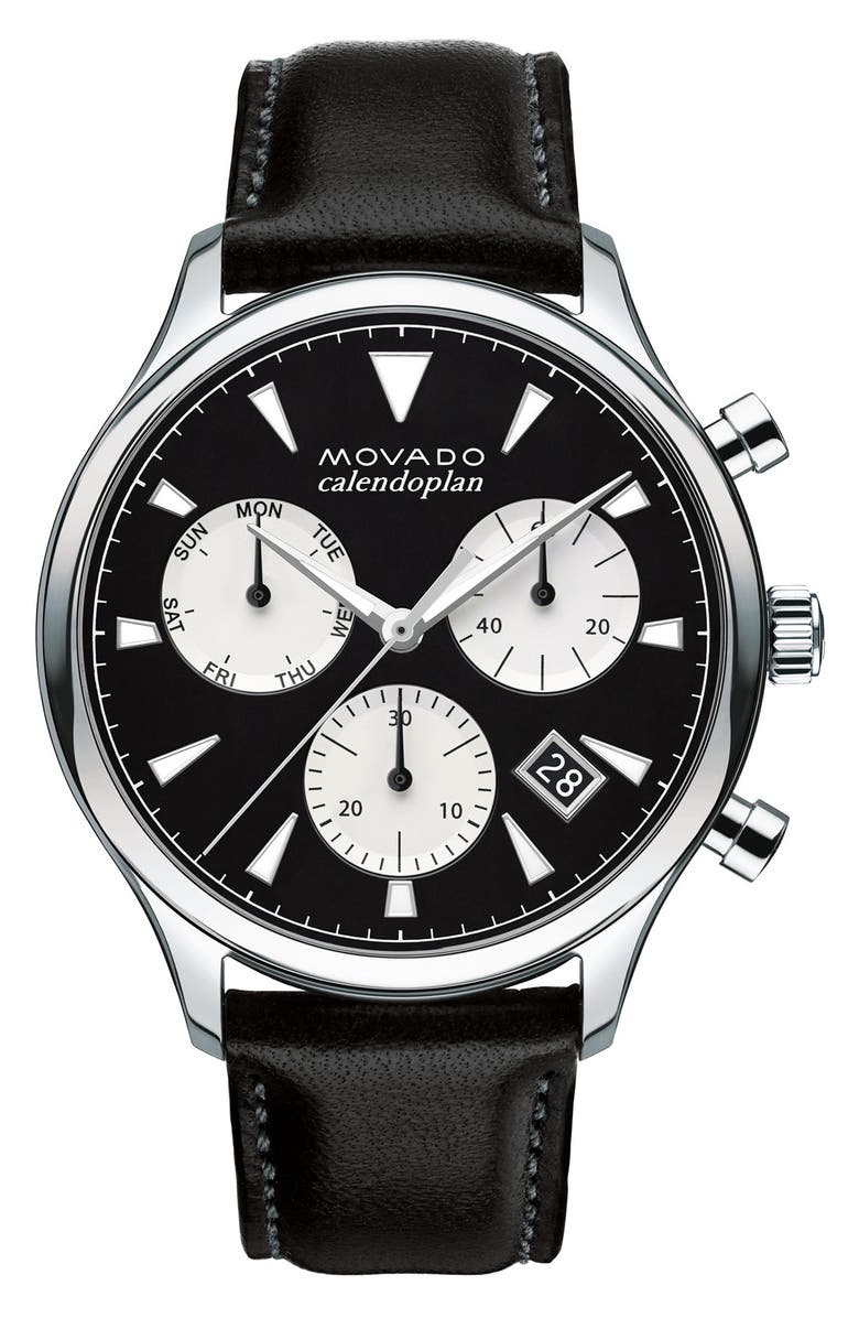 MOVADO 'Heritage' Chronograph Leather Strap Watch, 43mm, Main, color, 001