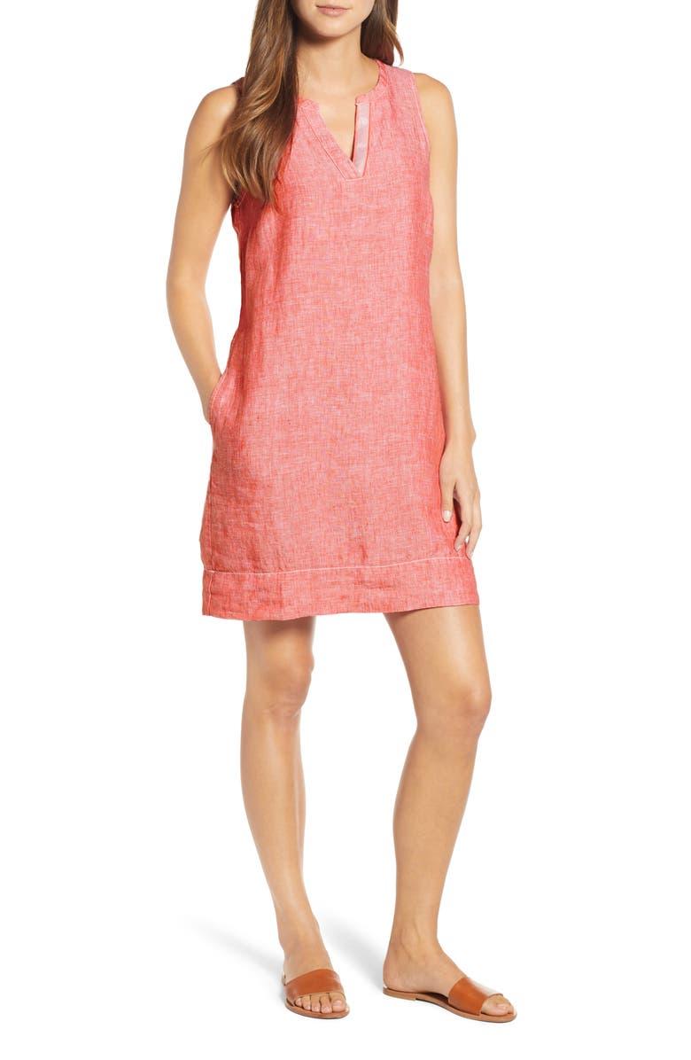 TOMMY BAHAMA Sea Glass Linen Shift Dress, Main, color, DUBARRY CORAL