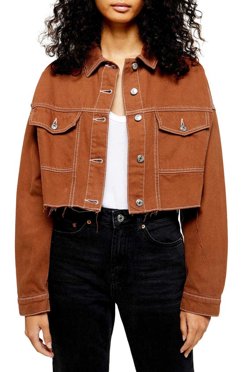 TOPSHOP Topstitched Crop Twill Jacket, Main, color, BROWN
