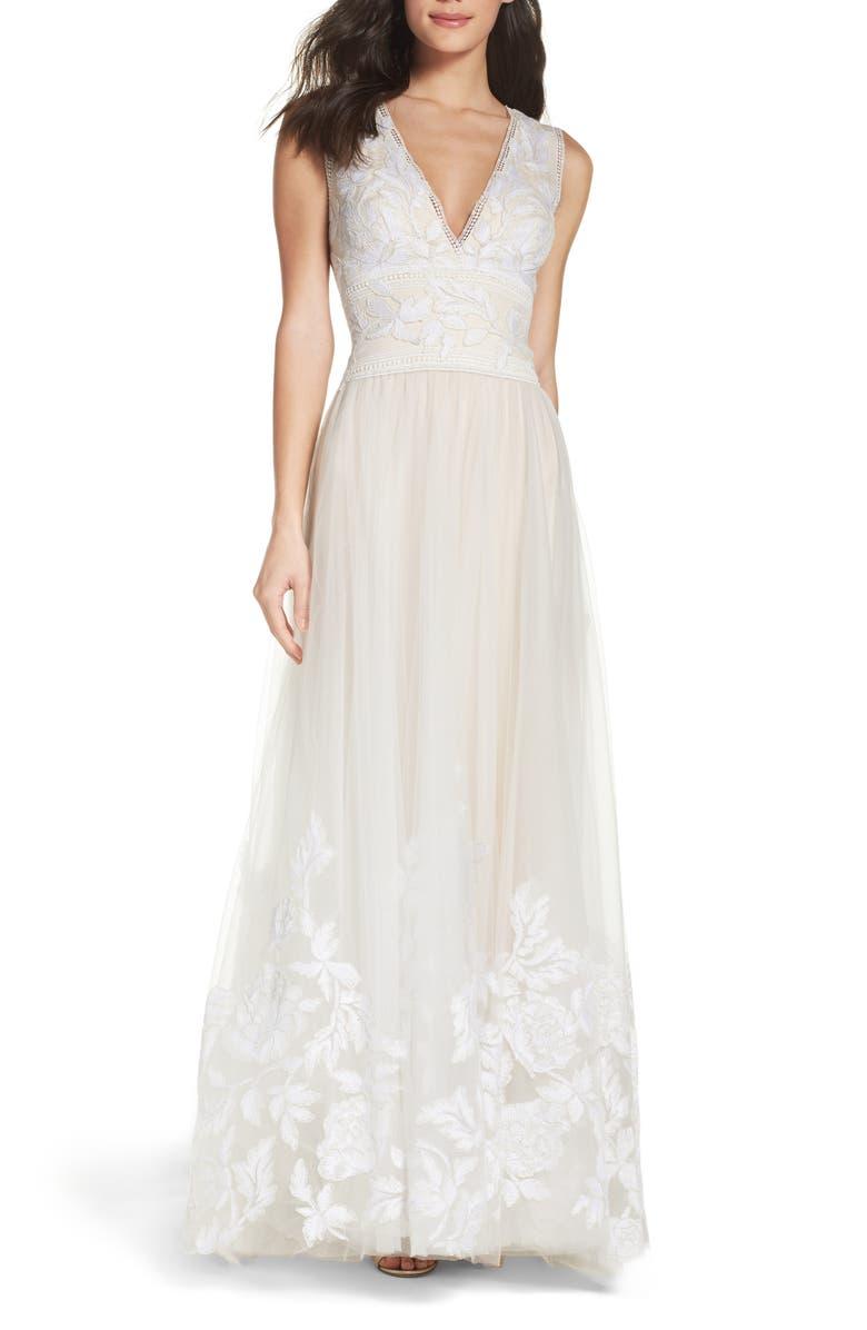 TADASHI SHOJI Tulle Lace A-Line Gown, Main, color, IVORY/ PETAL