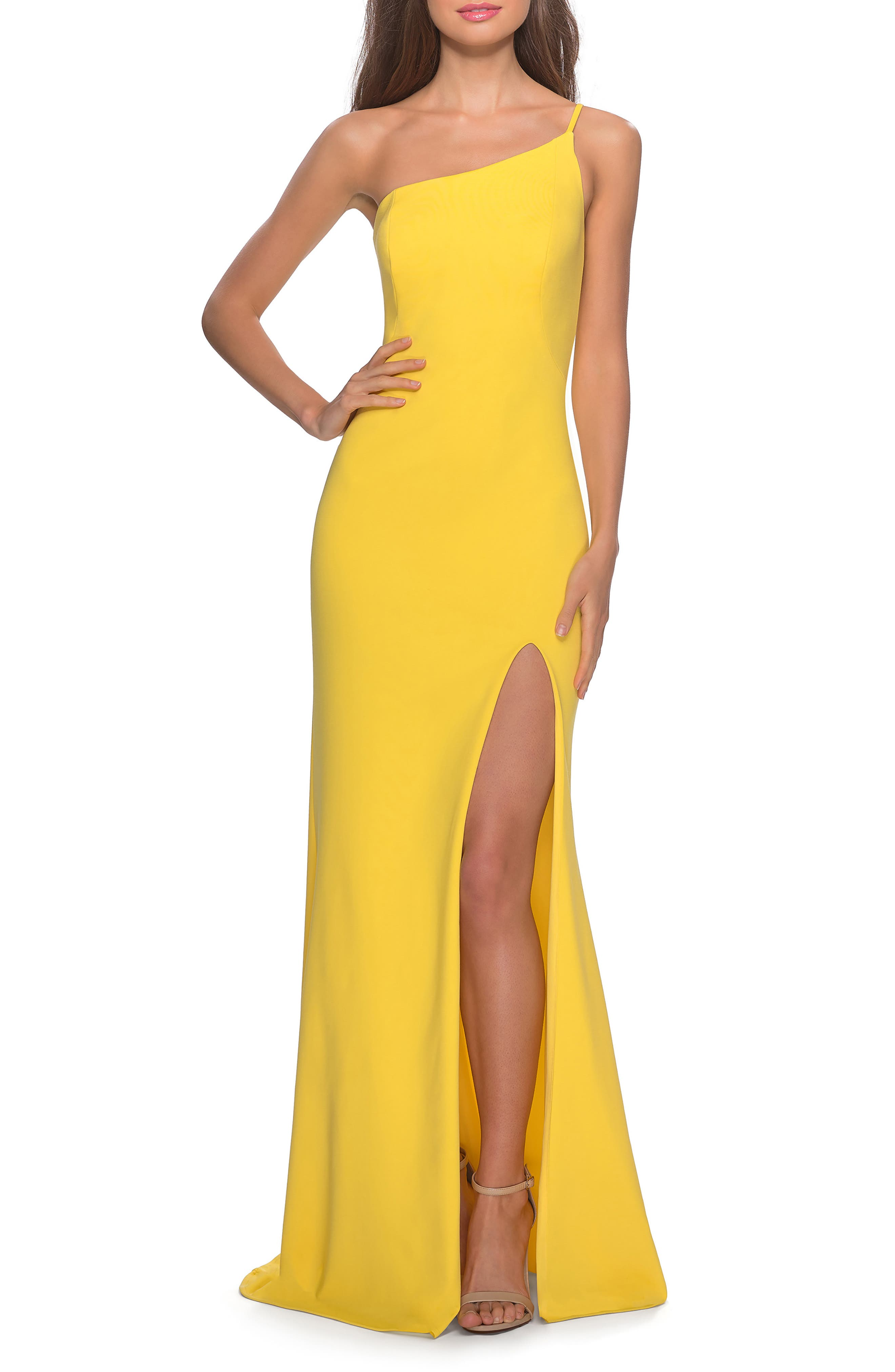 La Femme One-Shoulder Jersey Gown, Yellow