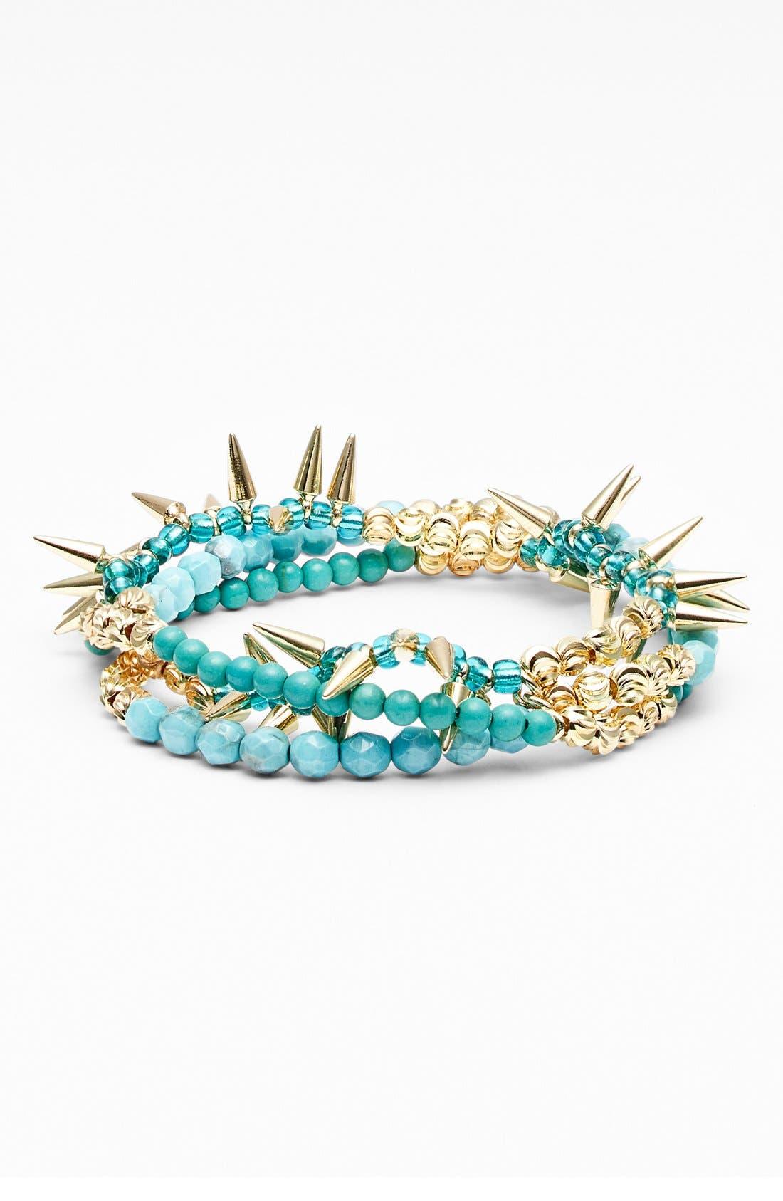 ,                             Spike Beaded Stretch Bracelet,                             Main thumbnail 2, color,                             400