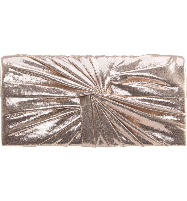 NINA Durham Twisted Knot Clutch, Main, color, GOLD