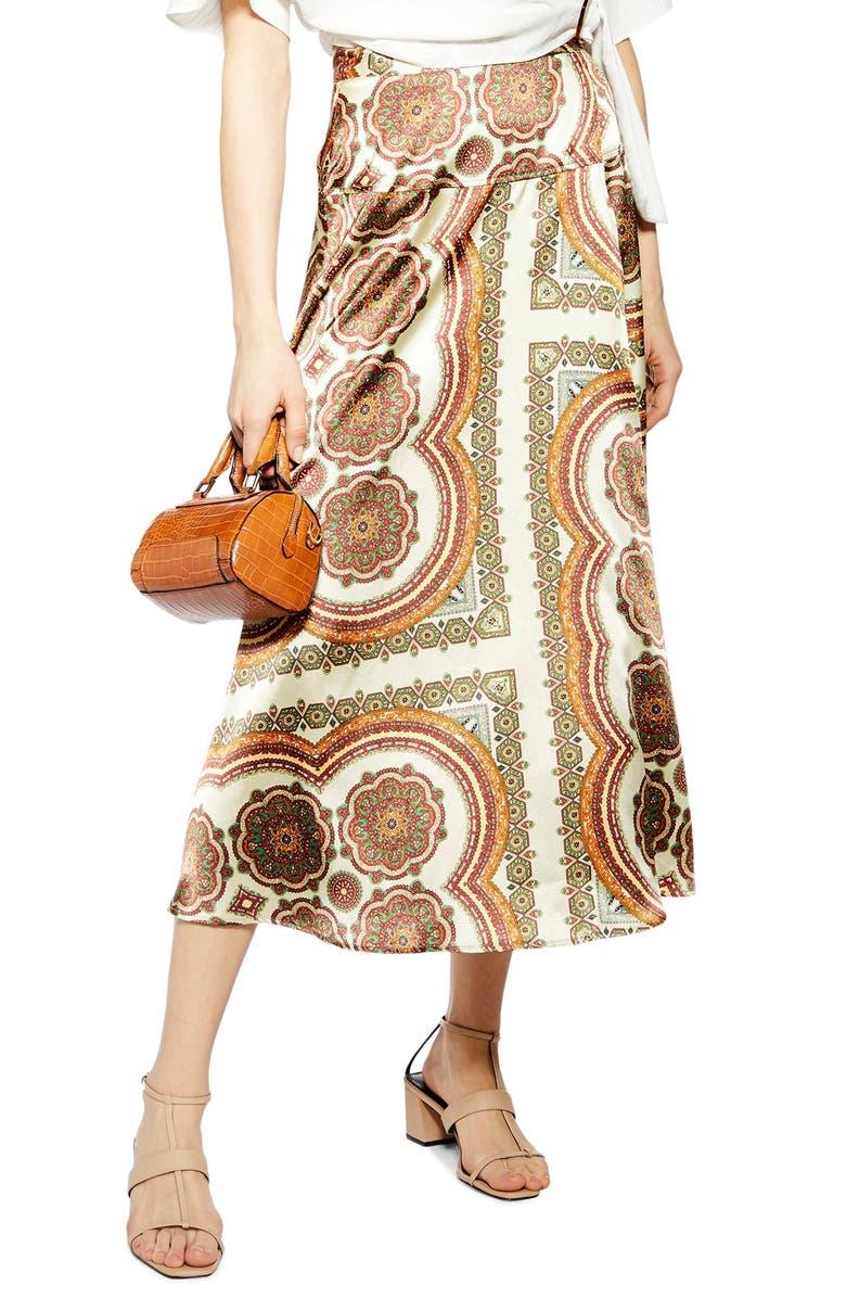 TOPSHOP Paisley Print Satin Wrap Maxi Skirt, Main, color, BEIGE MULTI
