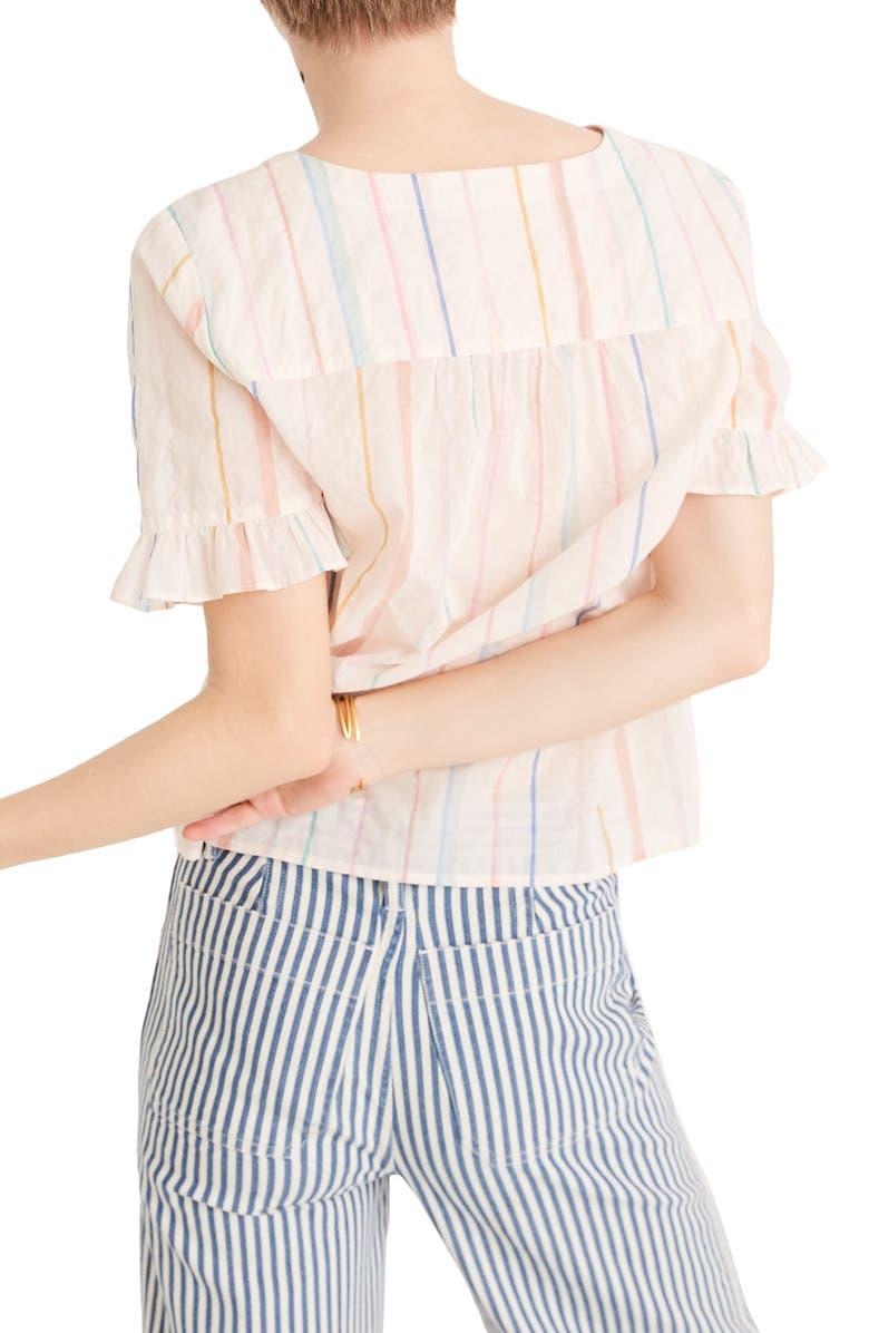 MADEWELL Village Stripe Ruffle Sleeve Shirt, Main, color, 900