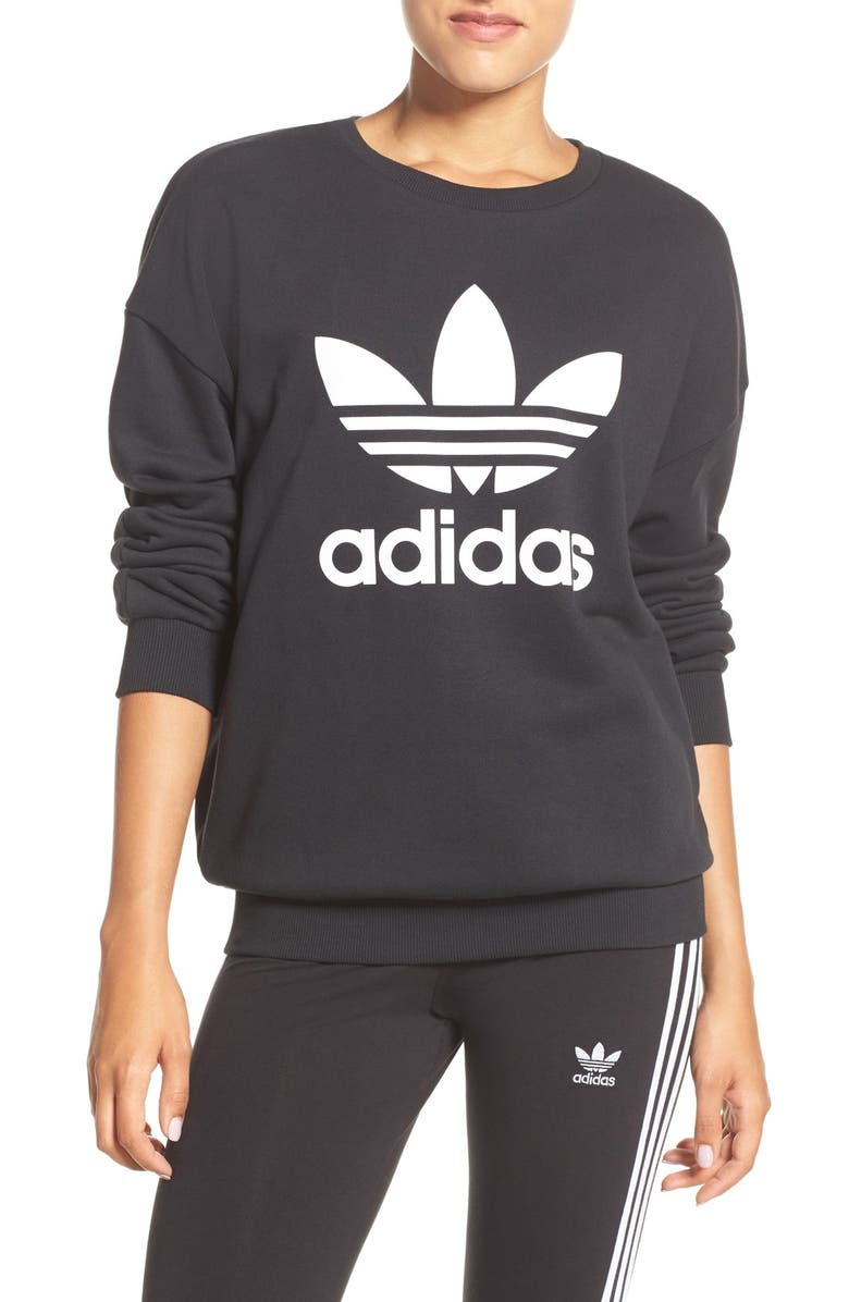 ADIDAS Originals Trefoil Crewneck Sweatshirt, Main, color, 001
