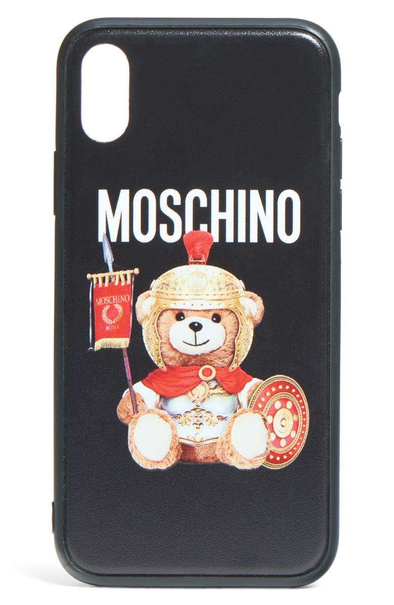 MOSCHINO Gladiator Teddy iPhone X/Xs Case, Main, color, FANTASY PRINT BLACK
