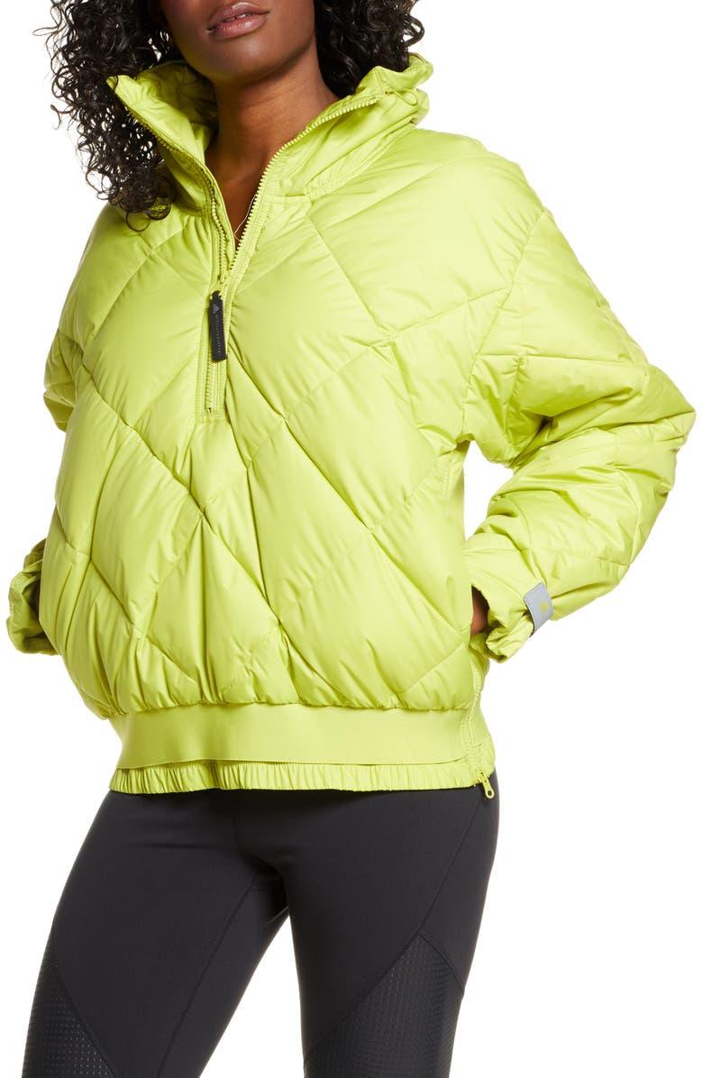 ADIDAS BY STELLA MCCARTNEY Diamond Quilter Half-Zip Pullover, Main, color, HALF GREEN