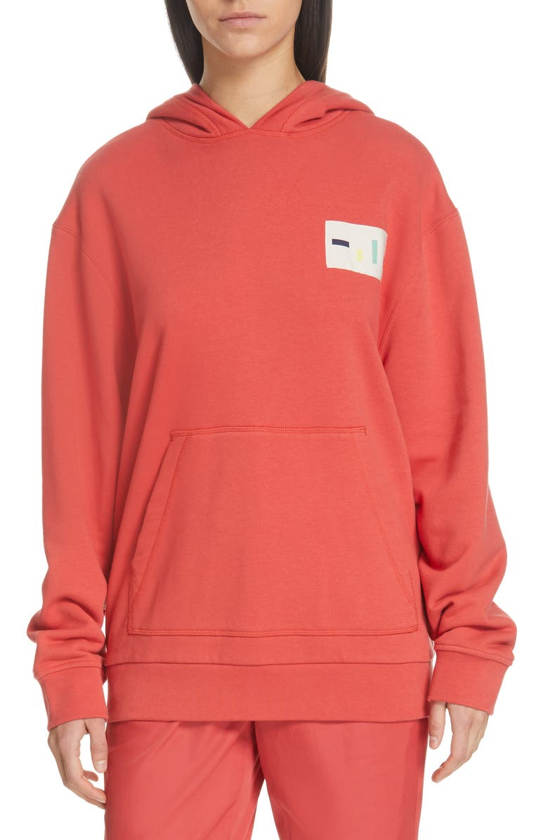 TIBI Logo Patch Hoodie, Main, color, RED