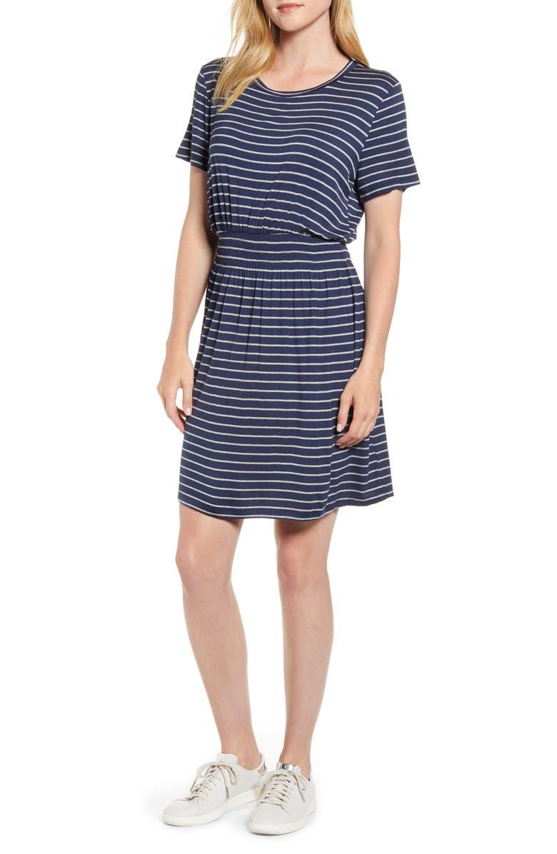 BOBEAU Celeste Smocked Waist Dress, Main, color, NAVY/ H GREY
