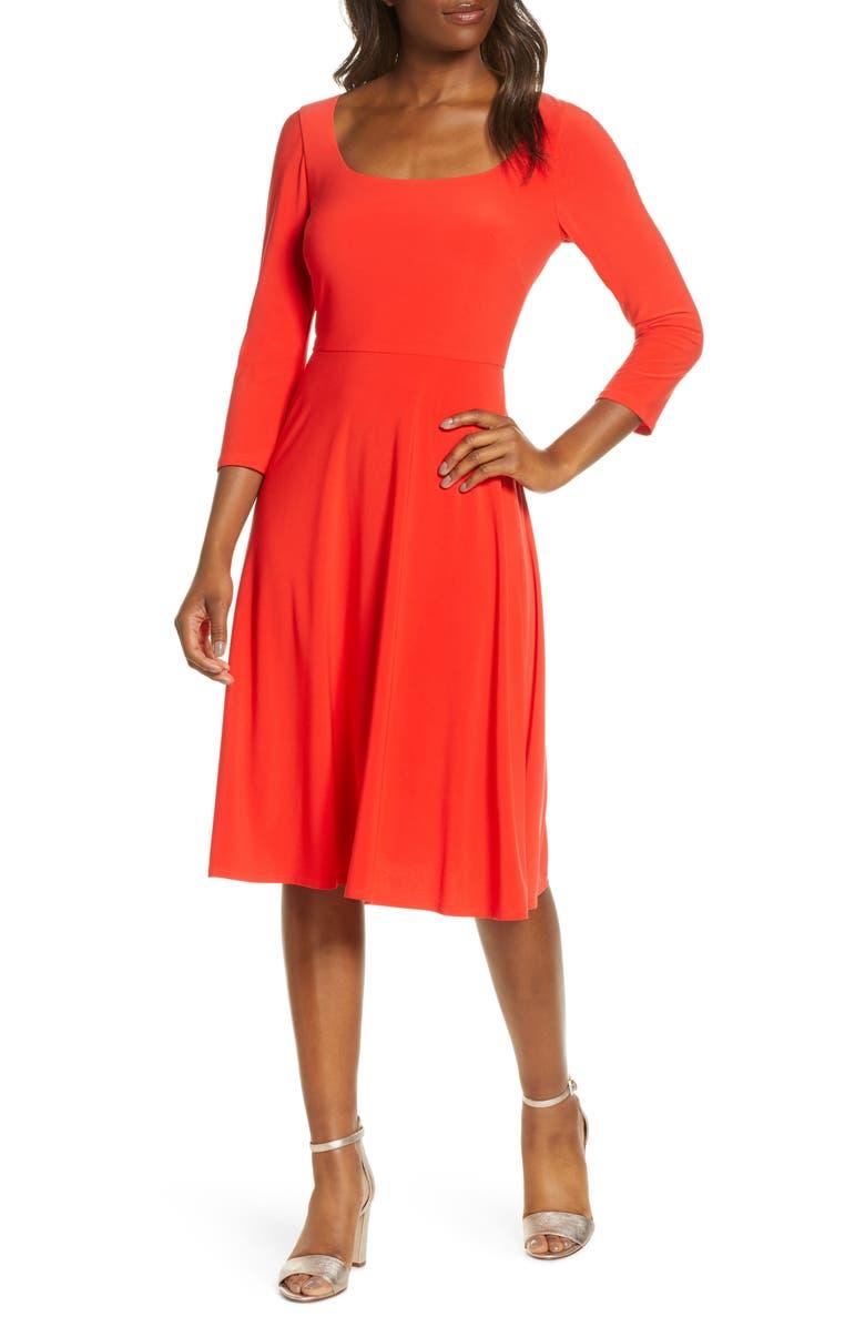 ELIZA J Square Neck Fit & Flare Dress, Main, color, POPPY