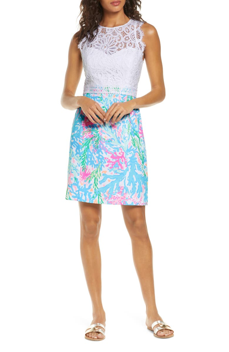 LILLY PULITZER<SUP>®</SUP> Sharice Lace Sheath Dress, Main, color, 440