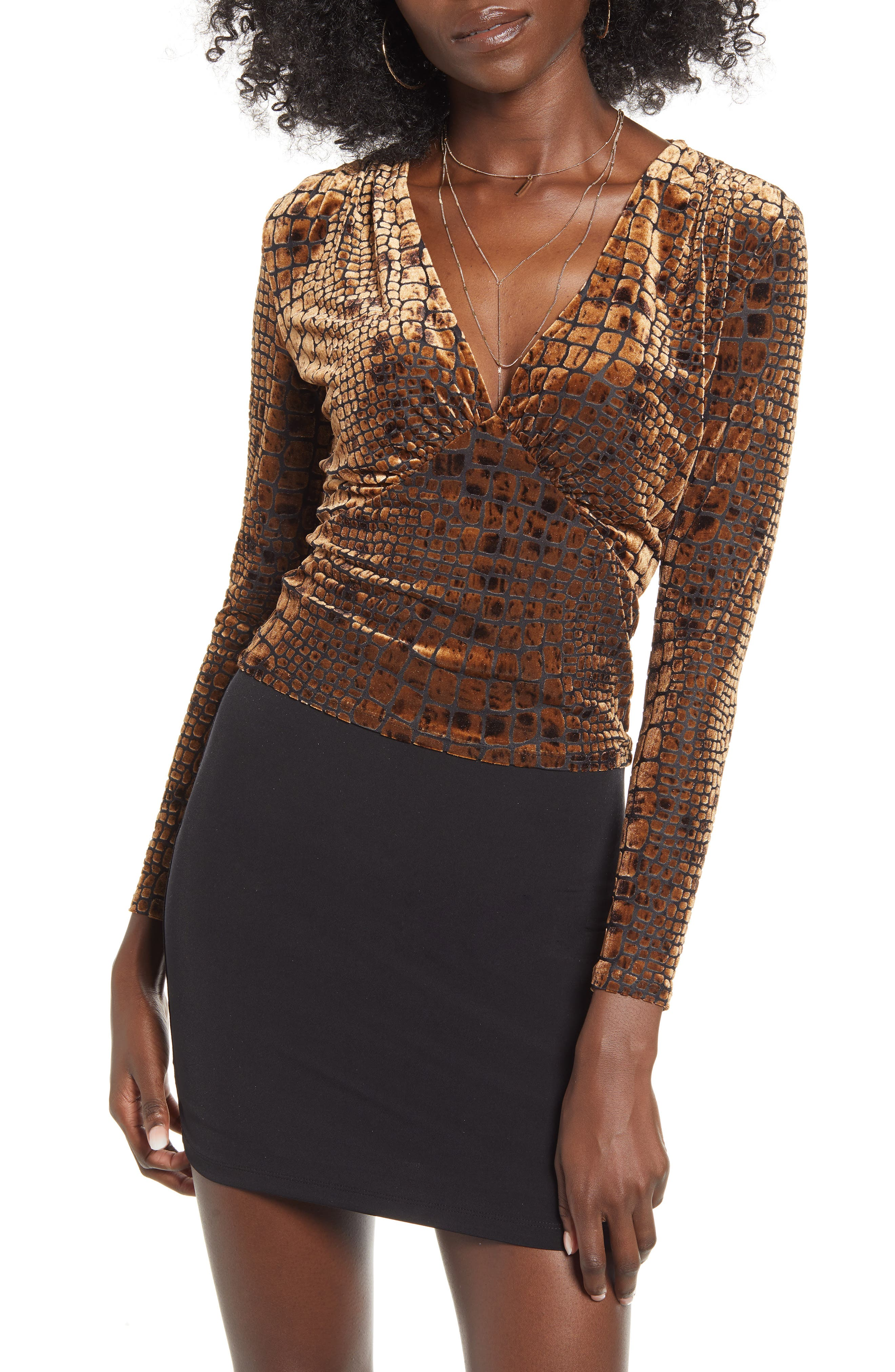 Reptile Burnout V Neck Top by Leith