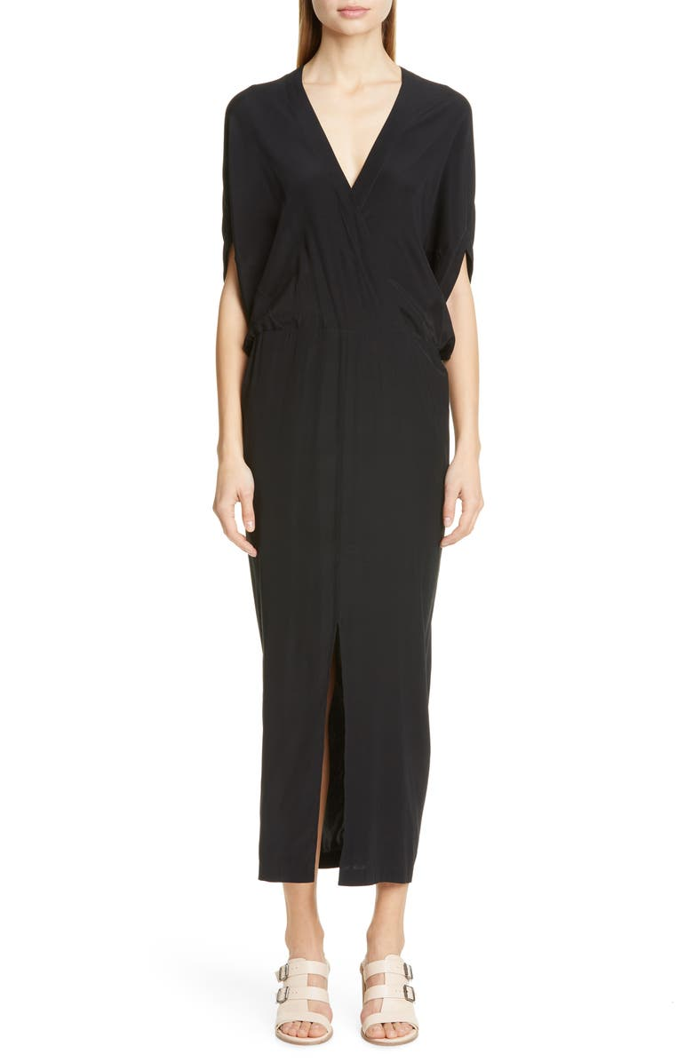 ZERO + MARIA CORNEJO Aki Stretch Silk Charmeuse Midi Dress, Main, color, BLACK