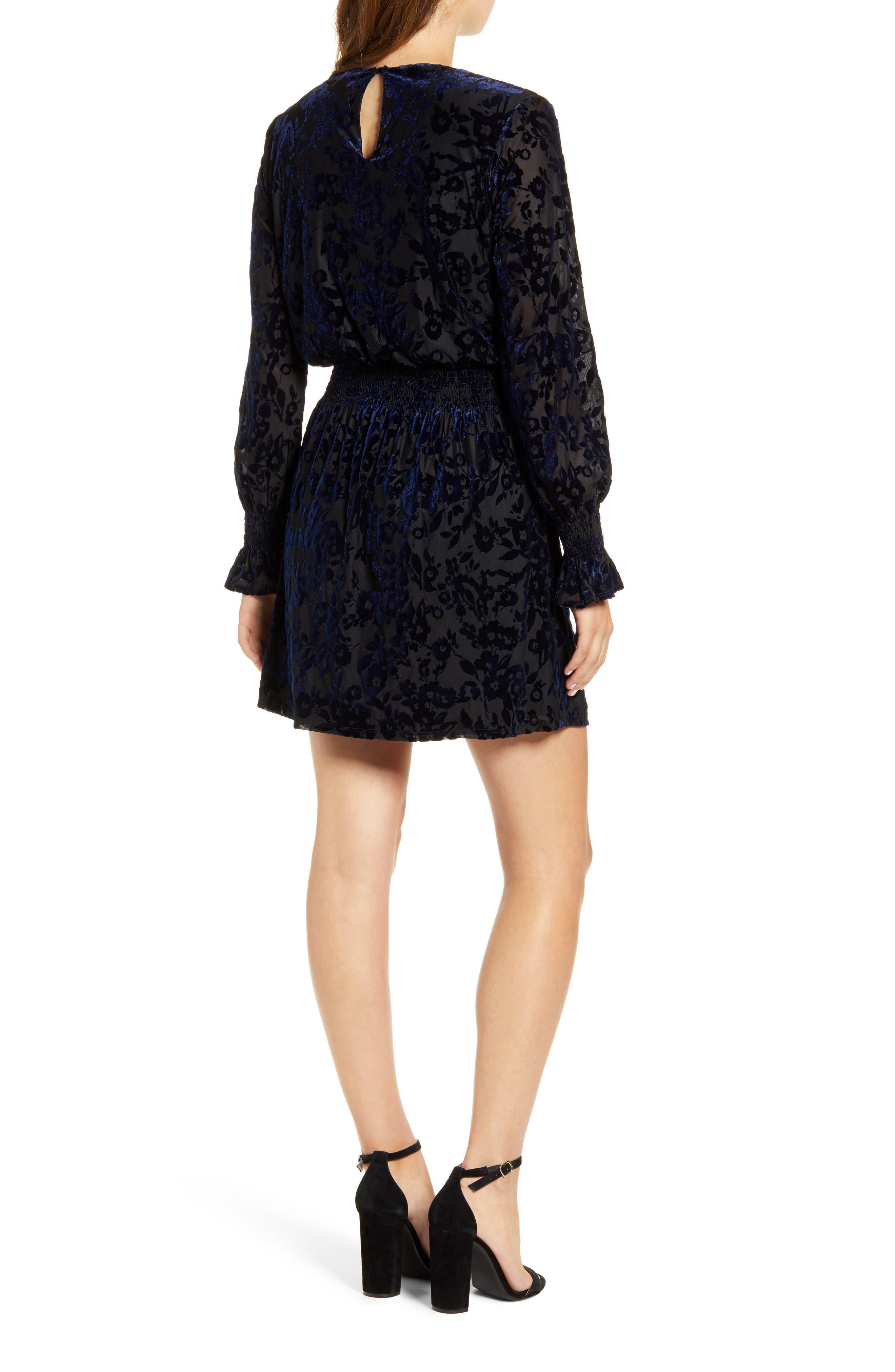 Gibsonlook   X Glam Tara Gibson Flocked Velvet Long Sleeve Date Dress   Nordstrom Rack