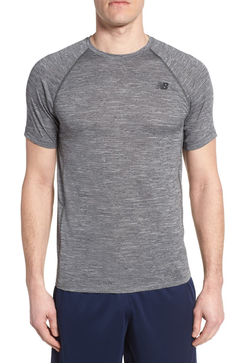 NEW BALANCE Tenacity Crewneck T-Shirt, Main, color, HEATHER CHARCOAL