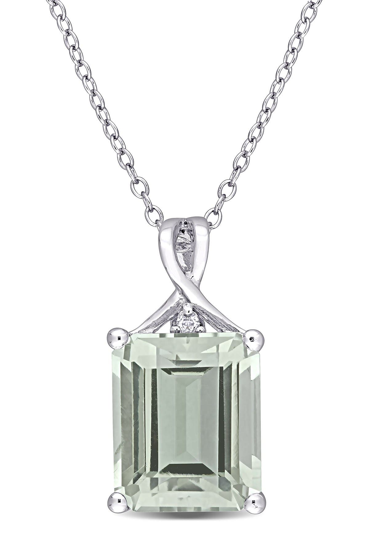 Image of Delmar Sterling Silver Baguette Cut Green Quartz Pendant Necklace