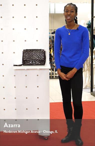 Edie Snake Embossed Leather Shoulder Bag, sales video thumbnail