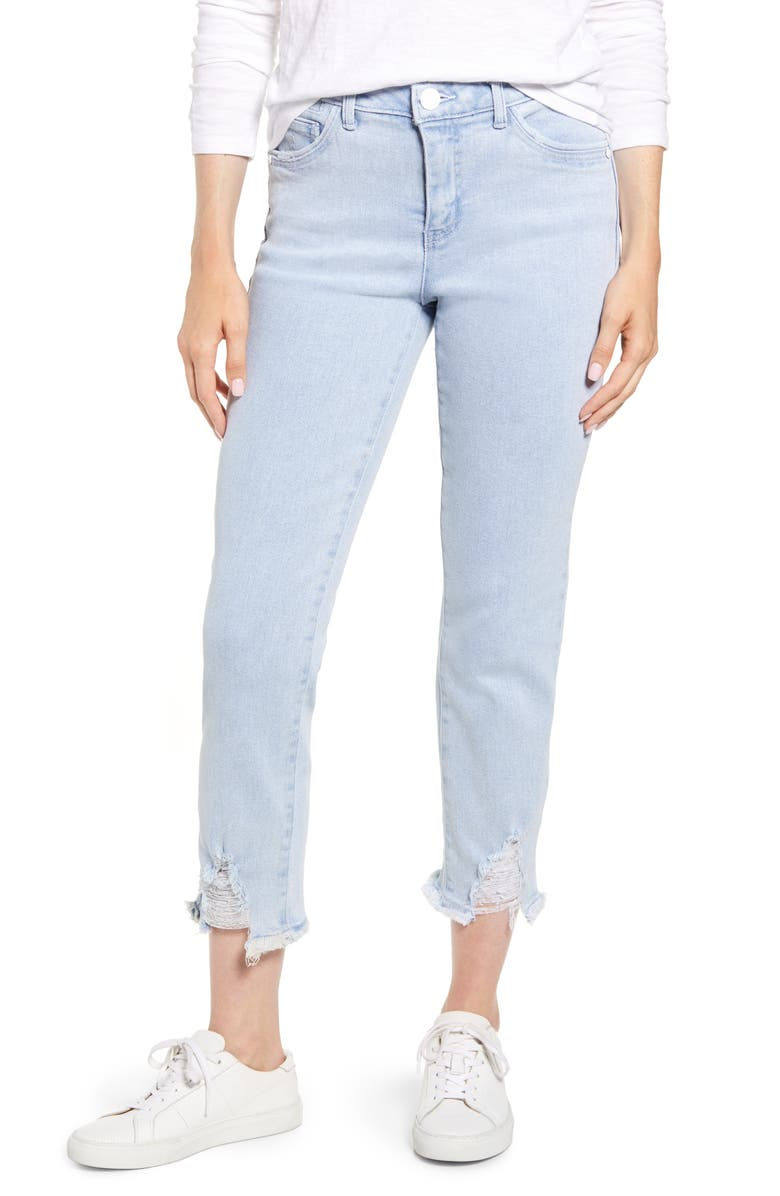 WIT & WISDOM Luxe Touch Ripped Crop Jeans, Main, color, LIGHT BLUE