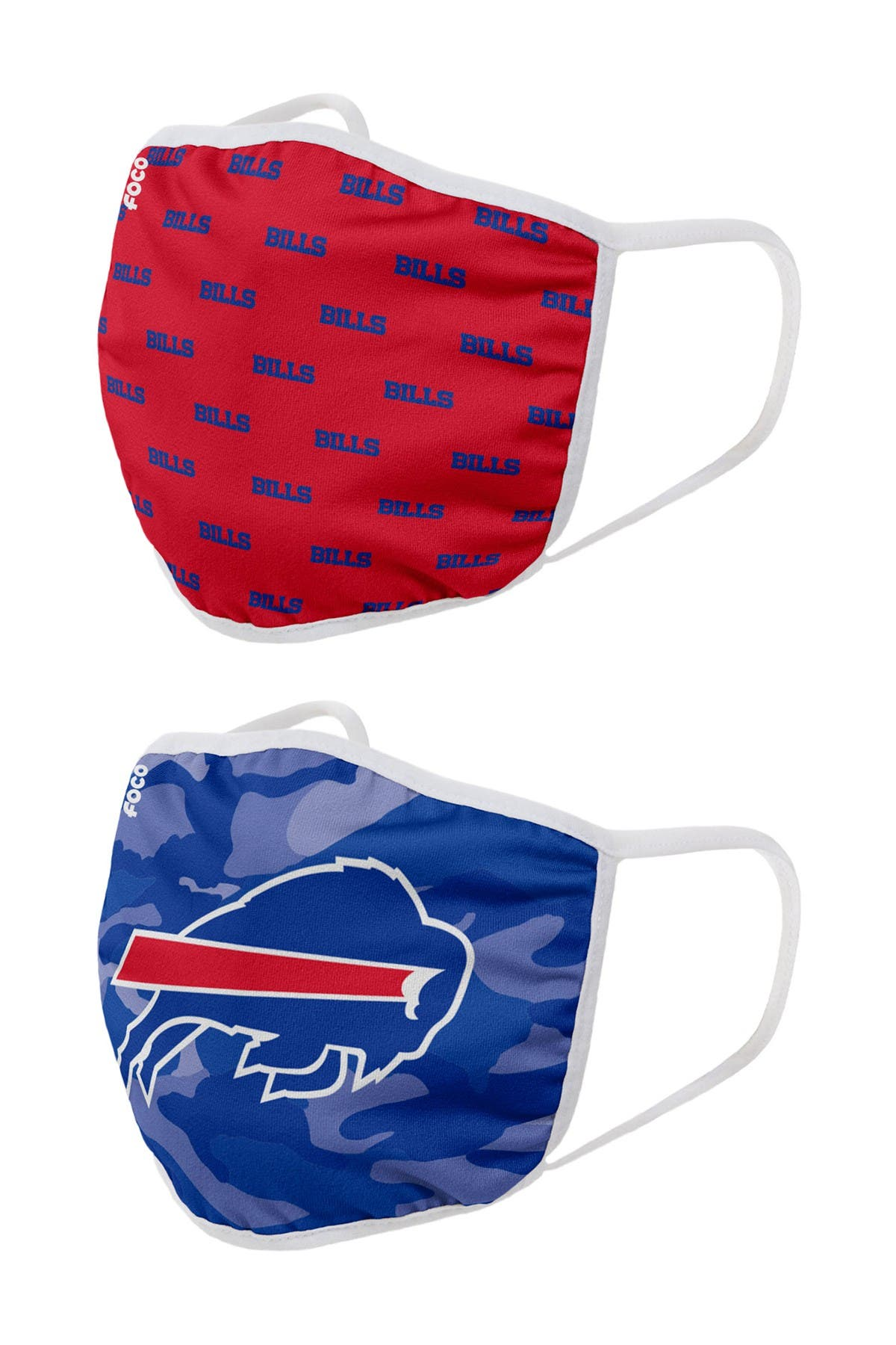 Image of FOCO NFL Buffalo Bills Clutch Printed Face Cover - Pack of 2