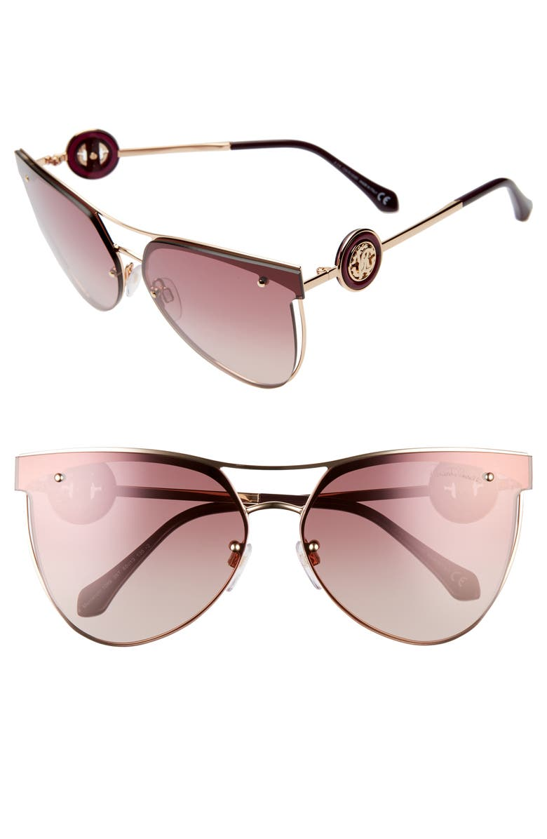 ROBERTO CAVALLI 65mm Oversize Flat Front Cat Eye Sunglasses, Main, color, ROSE GOLD/ GRADIENT BORDEAUX