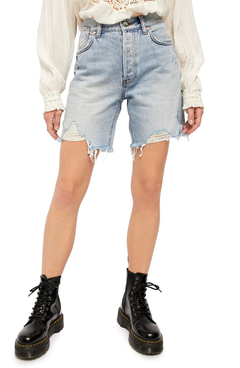 FREE PEOPLE Sequoia Denim Shorts, Main, color, SURF'S UP