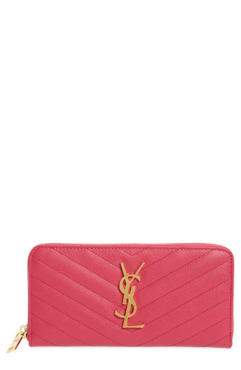SAINT LAURENT Monogram Quilted Leather Wallet, Main, color, SHOCKING PINK