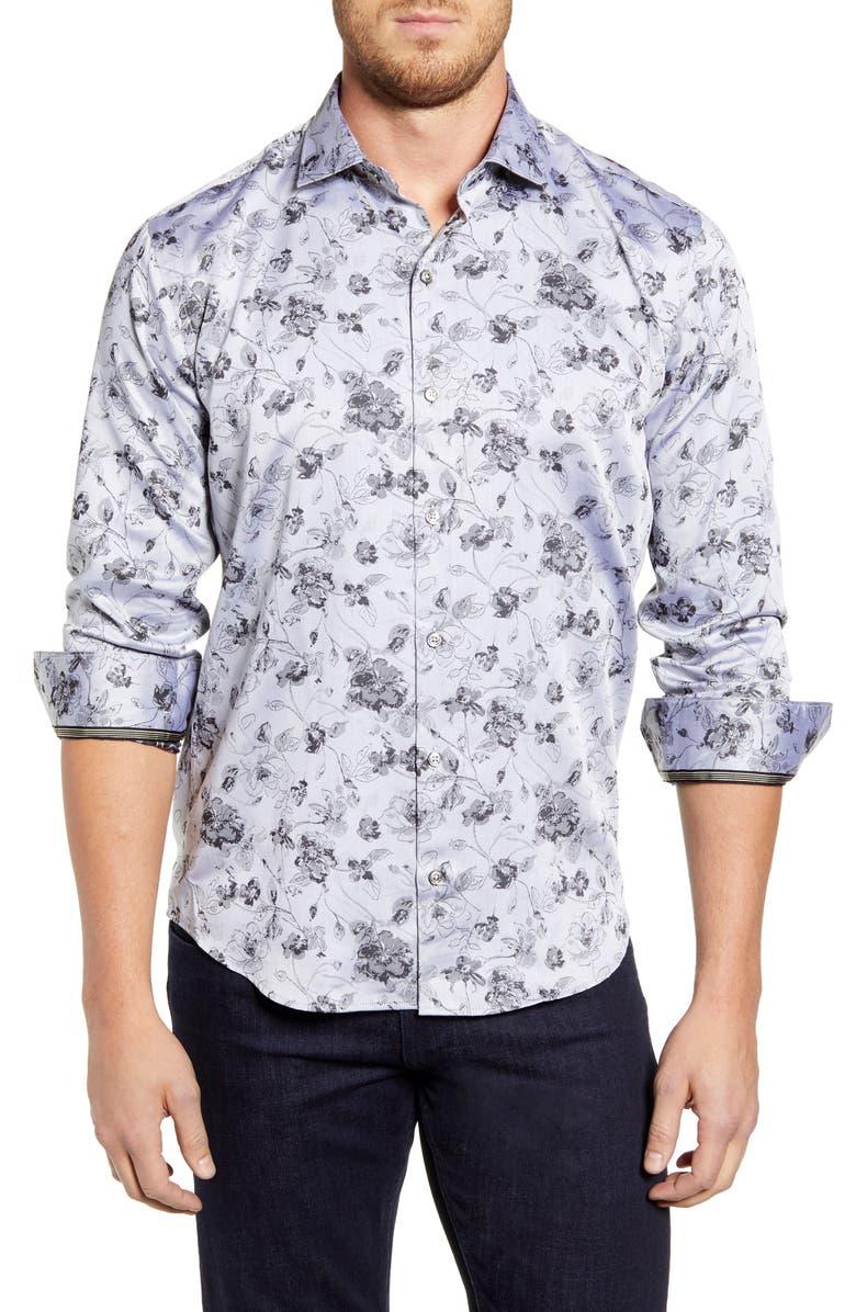 BUGATCHI Shaped Fit Floral Button-Up Sport Shirt, Main, color, PLATINUM
