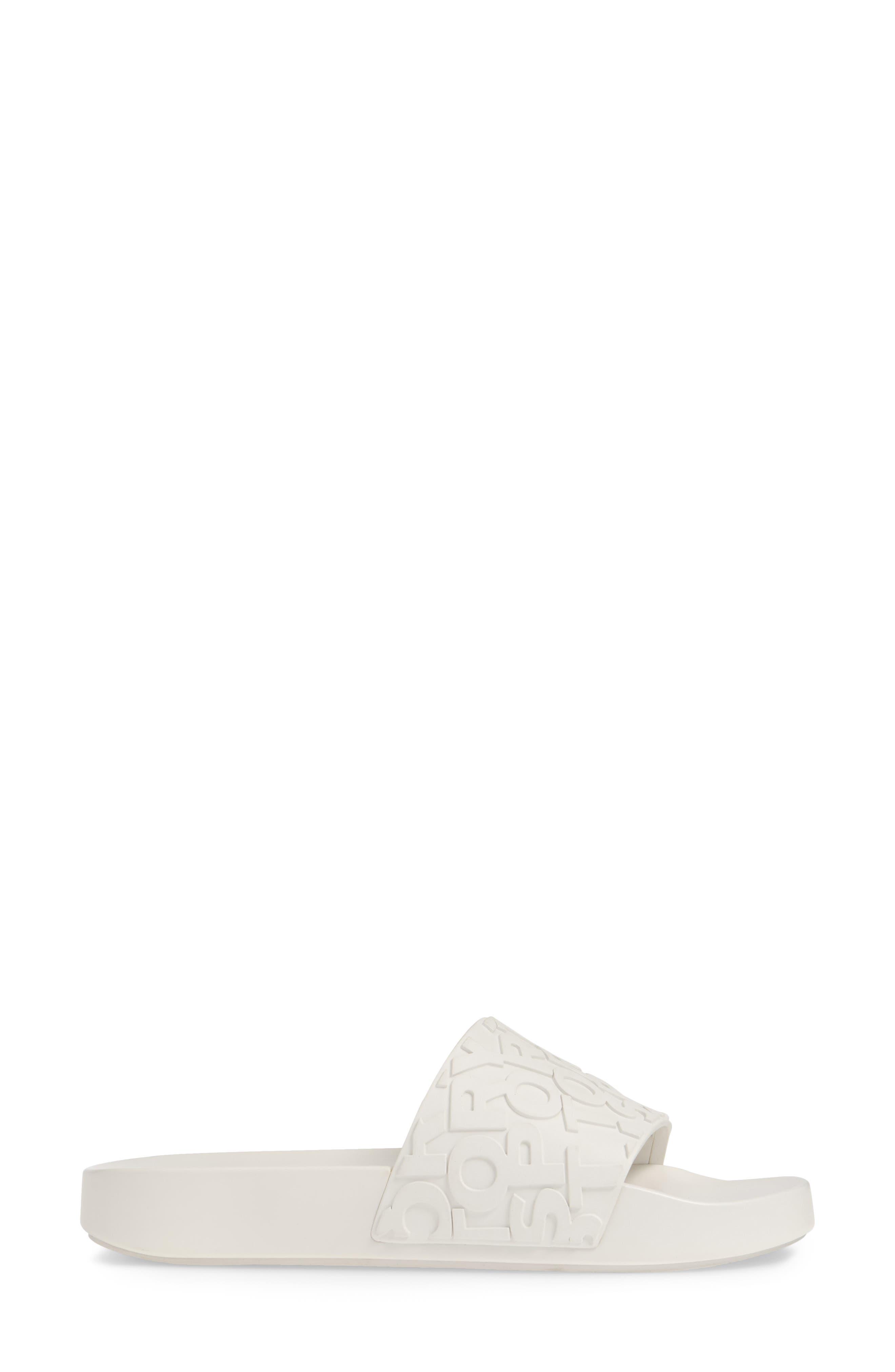 ,                             Tory Burch Embossed Logo Slide Sandal,                             Alternate thumbnail 3, color,                             OFF WHITE