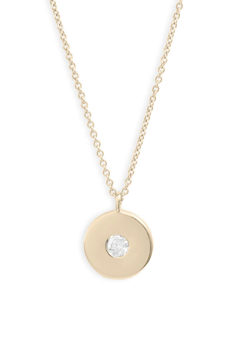 BONY LEVY Ofira Circular Pendant Necklace, Main, color, DIAMOND/ YELLOW GOLD