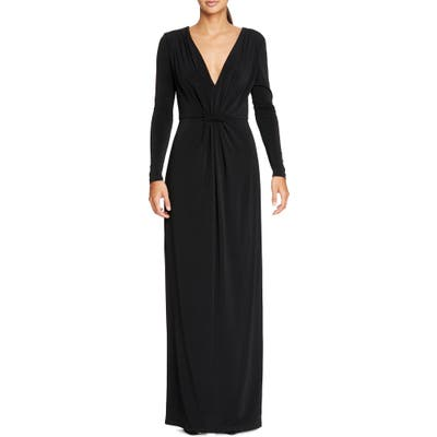 Halston Heritage Long Sleeve Ruched Jersey Gown, Black