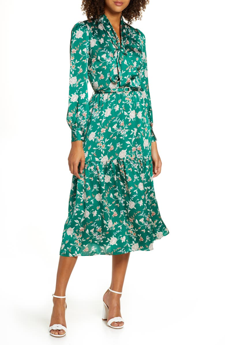 CHELSEA28 Chelsea 28 Floral Long Sleeve Satin Shirtdress, Main, color, GREEN FLORAL