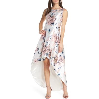 Chi Chi London Winter Floral High/low Satin Cocktail Dress, Blue