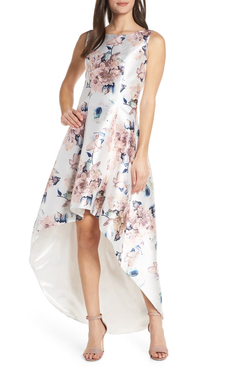 CHI CHI LONDON Winter Floral High/Low Satin Cocktail Dress, Main, color, 410