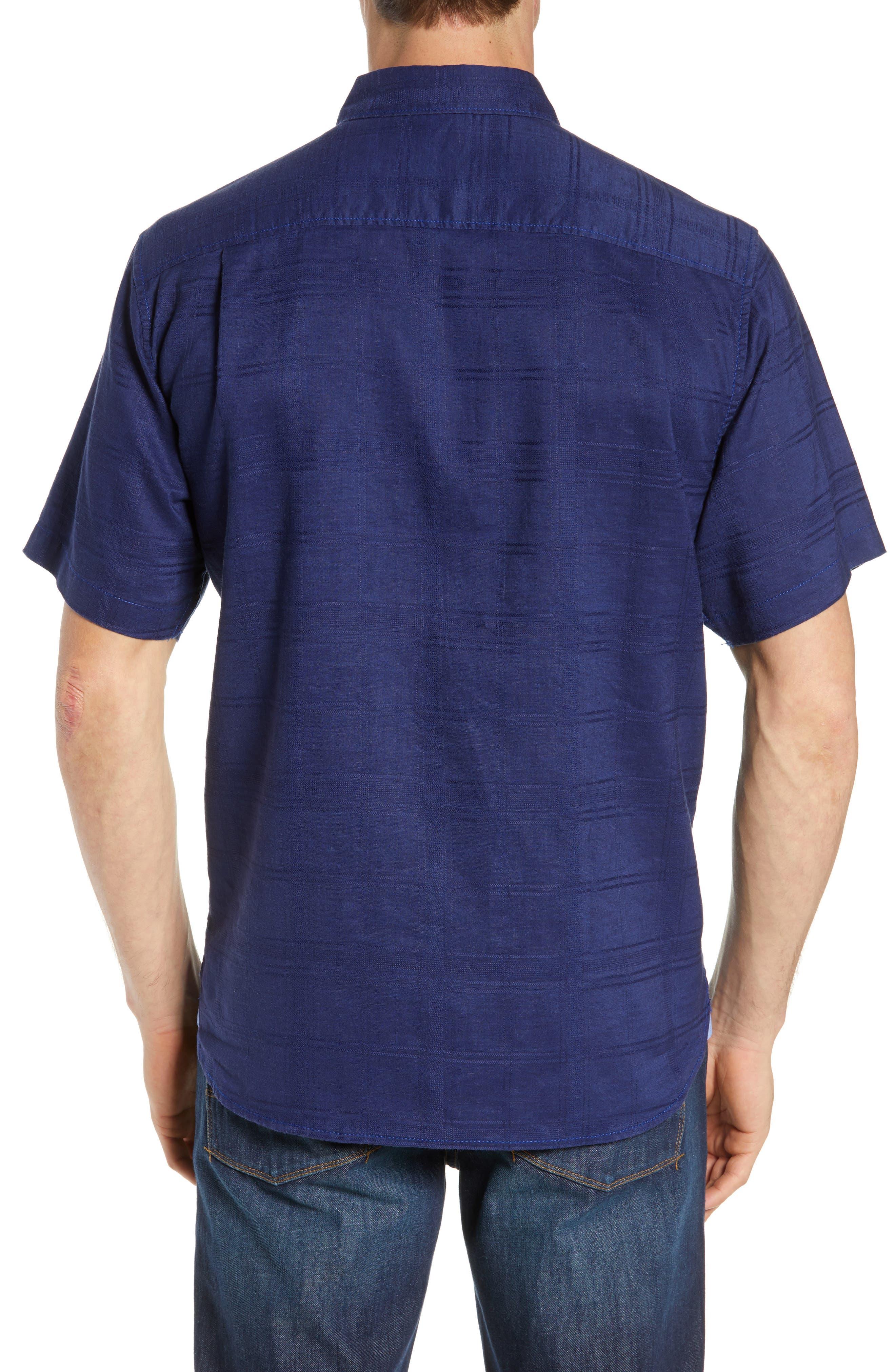 ,                             Costa Tautira Linen Blend Sport Shirt,                             Alternate thumbnail 3, color,                             THRONE BLUE