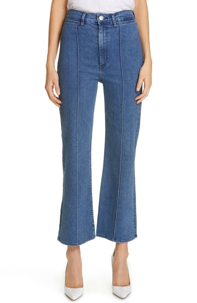 3X1 NYC Nicolette Pintuck Crop Flare Jeans, Main, color, ANYA