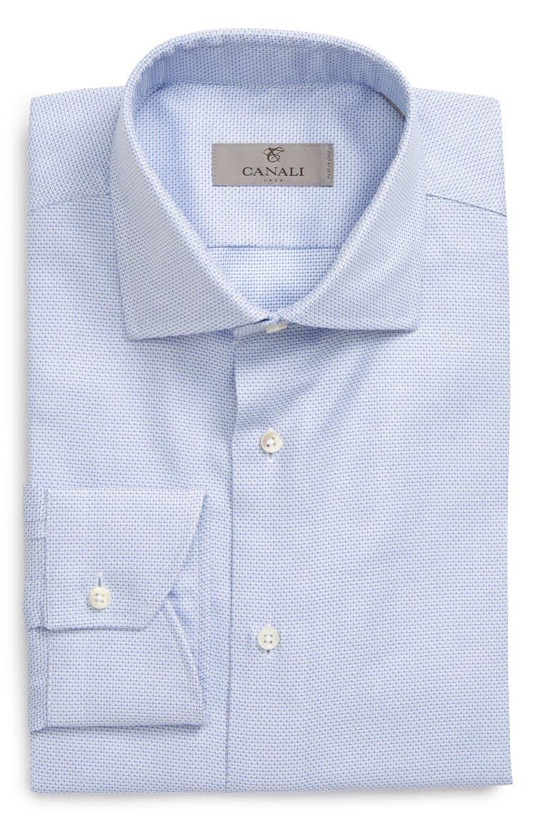CANALI Slim Fit Solid Dress Shirt, Main, color, BLUE