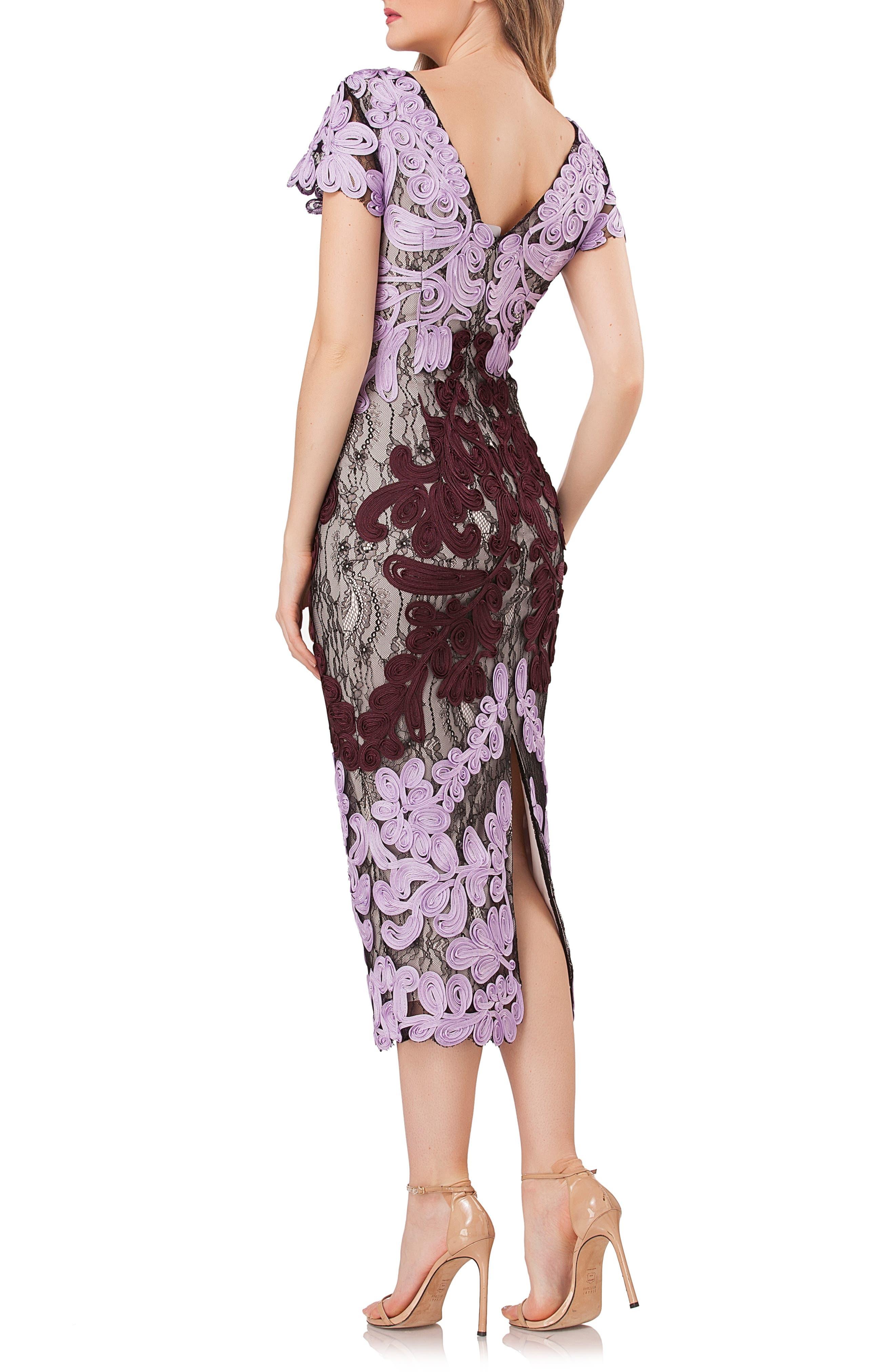 ,                             Soutache Lace Midi Dress,                             Alternate thumbnail 2, color,                             ORCHID/ CHIANTI