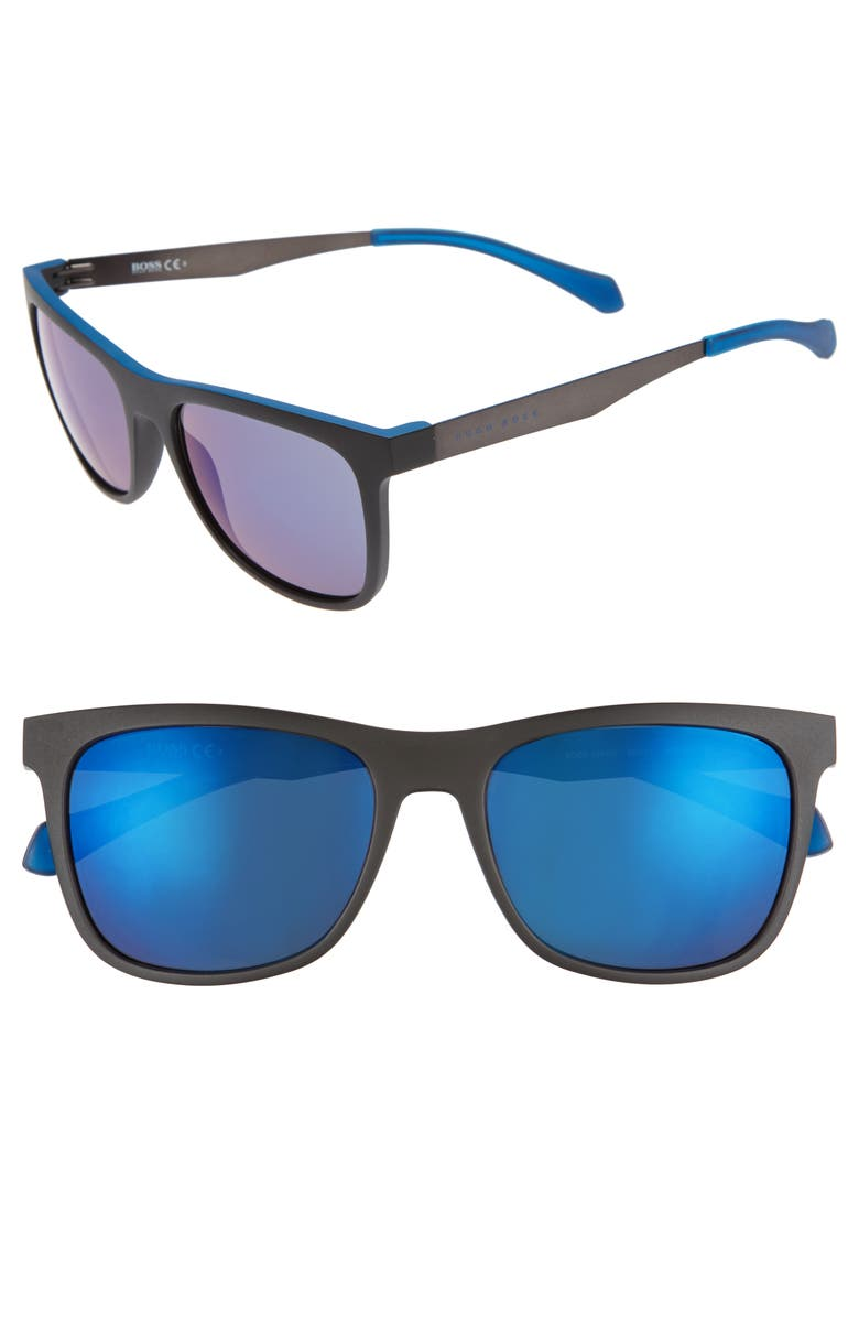 BOSS 55mm Sunglasses, Main, color, MATTE BLACK BLUE/ BLUE SKY