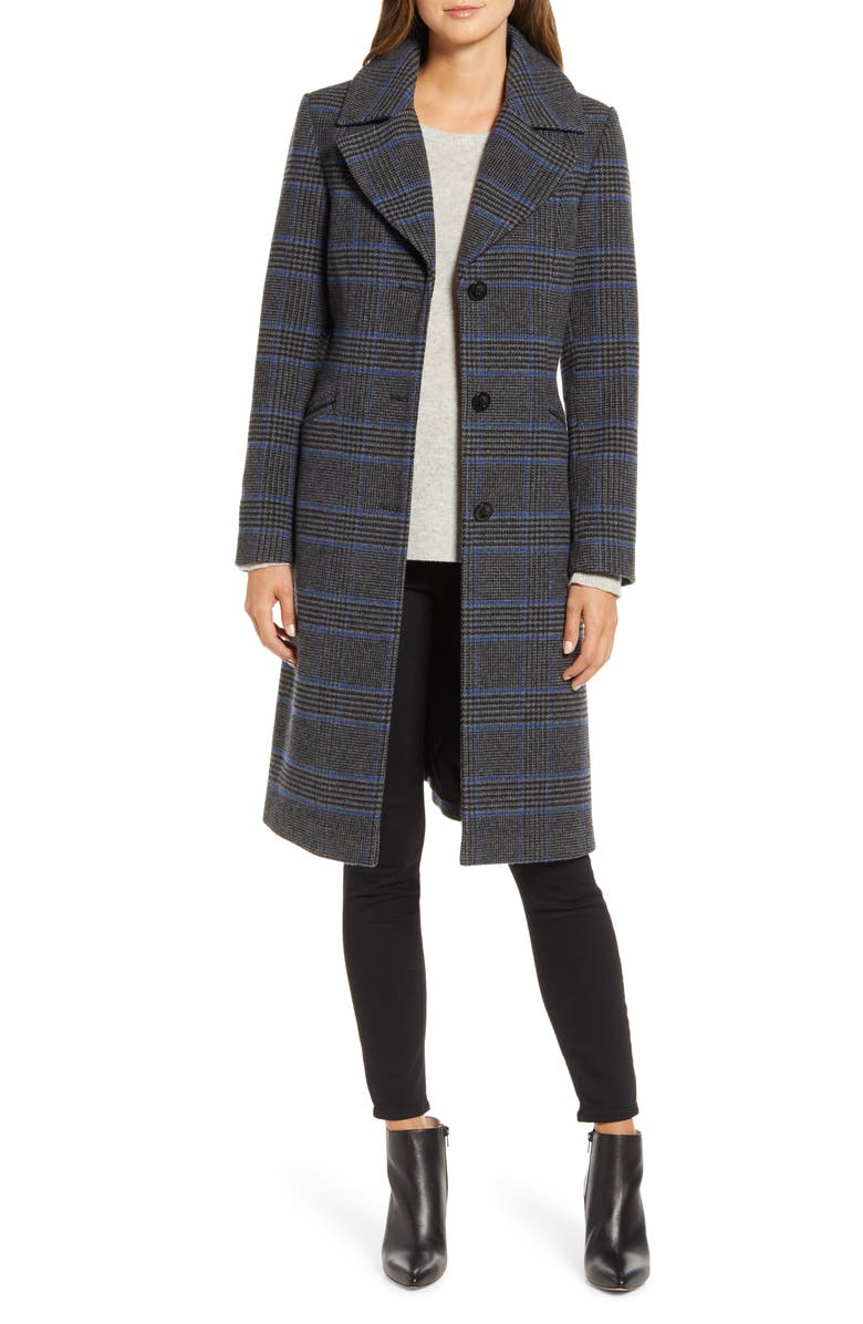 KENNETH COLE NEW YORK Plaid Coat, Main, color, 021