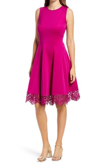 Image of Donna Ricco Scalloped Lace Hem Dress