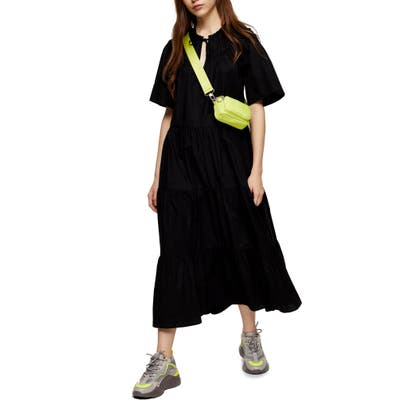 Topshop Smocked Poplin Midi Dress, US - Black