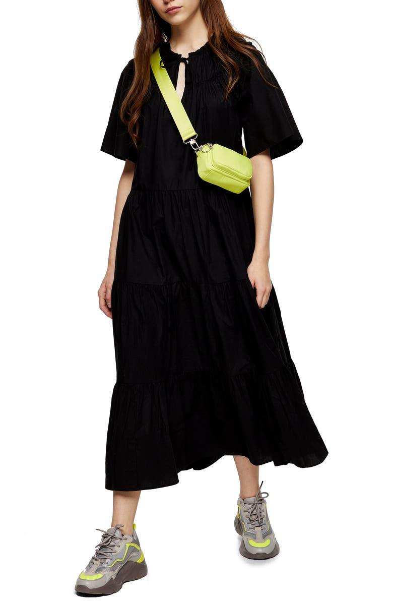 TOPSHOP Smocked Poplin Midi Dress, Main, color, BLACK