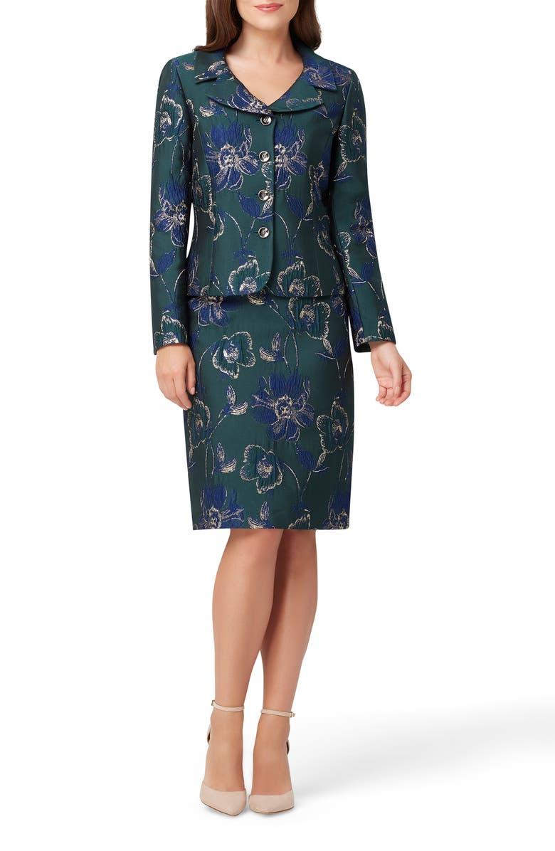 TAHARI Metallic Floral Jacquard Jacket & Skirt, Main, color, NAVY GREEN GOLD FLORAL