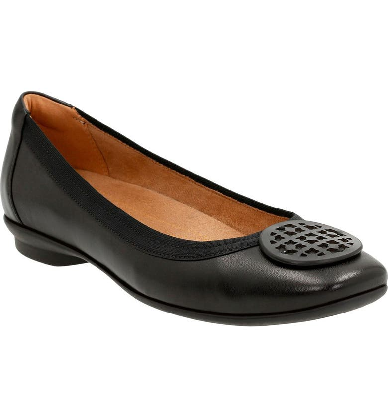 CLARKS<SUP>®</SUP> 'Candra Blush' Flat, Main, color, BLACK LEATHER
