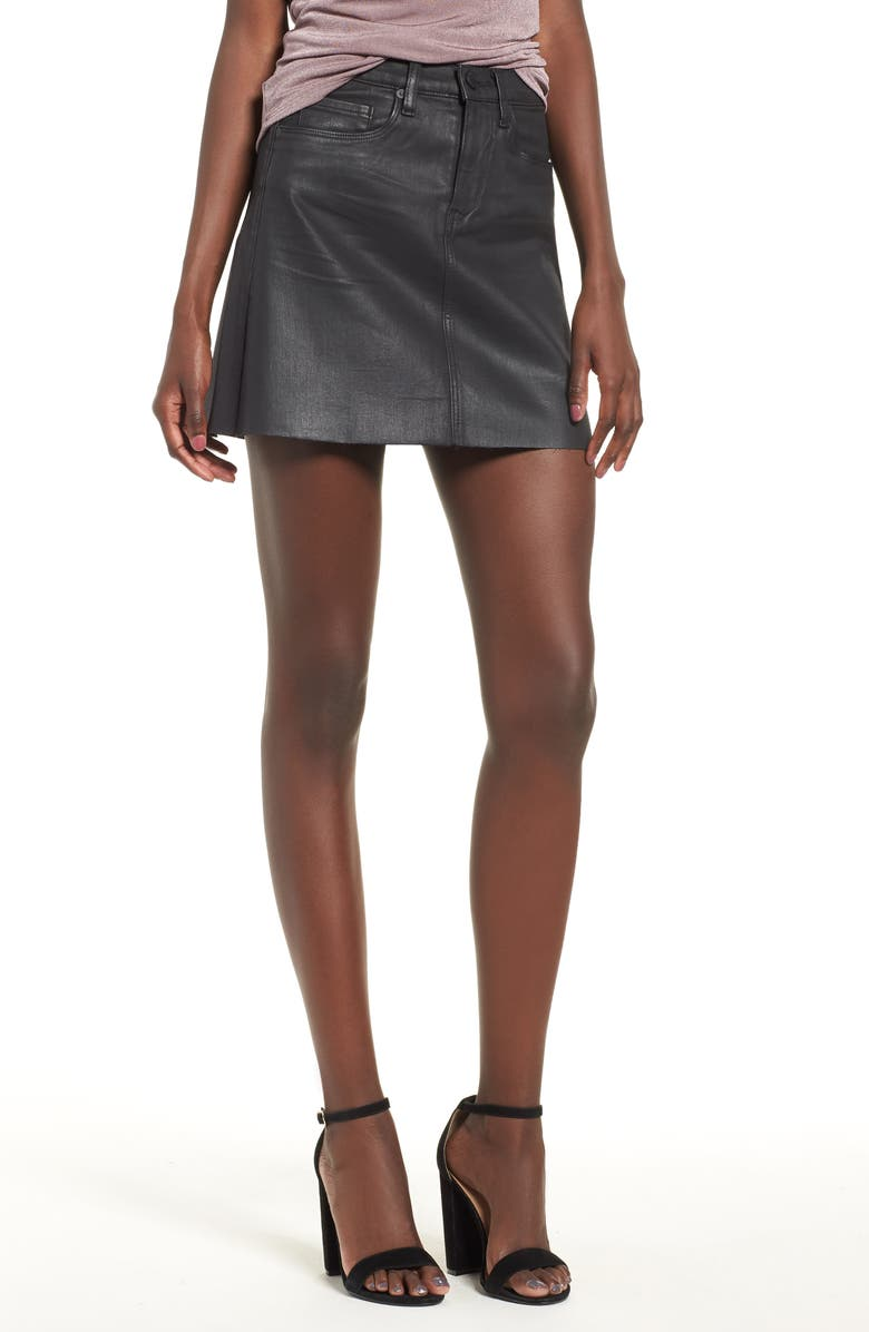 BLANKNYC Coated Denim Miniskirt, Main, color, SPARTACUS