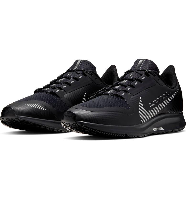 NIKE Air Zoom Pegasus 36 Shield Water Repellent Shoe, Main, color, BLACK/ BLACK/ METALLIC SILVER
